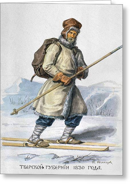 Russia Skier, 1830 Greeting Card