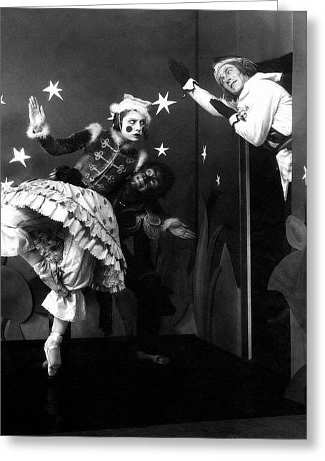 Russian Ballet Dancers Wearing Elaborate Costumes Greeting Card by Anton Bruehl & Fernand Bourges