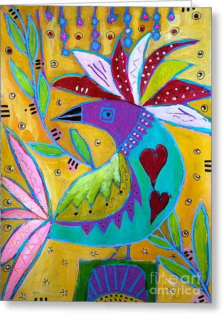 Russian Bird  Greeting Card by Corina  Stupu Thomas