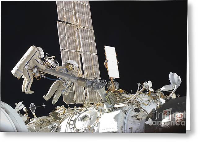 Russian Cosmonauts Working Greeting Card by Stocktrek Images