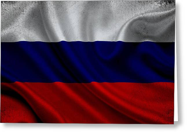 Russian Flag Waving On Canvas Greeting Card