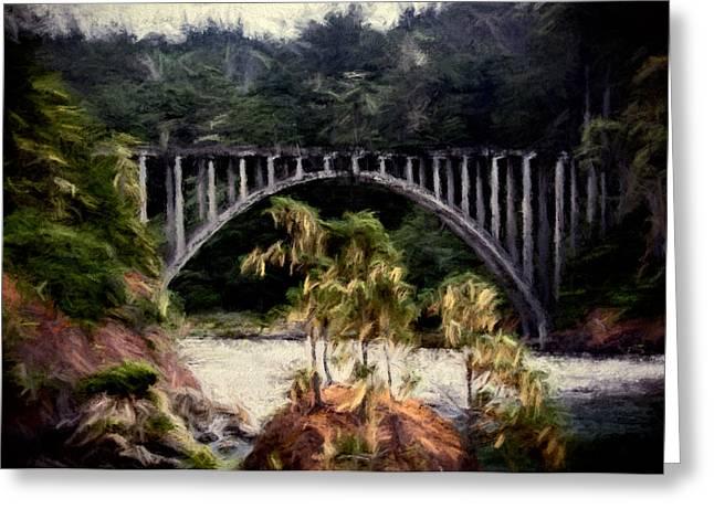 Russian Gulch Bridge Greeting Card by John K Woodruff