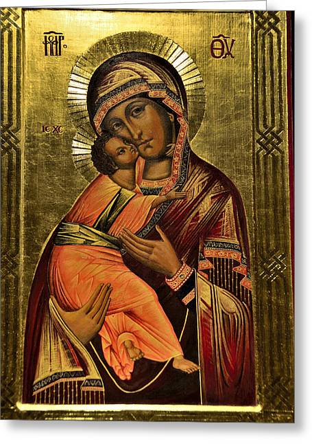 Russian Icon  Our Lady Of Vladimir Greeting Card