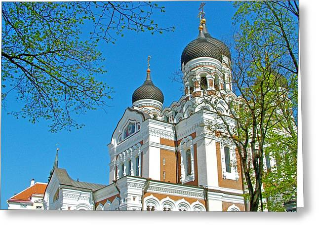 Russian Orthodox Church Across From Toompea Castle Courtyard In Old Town Tallinn-estonia Greeting Card by Ruth Hager