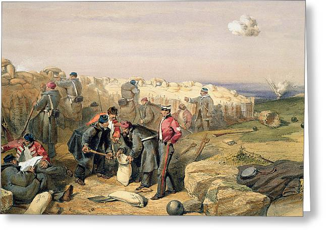 Russian Rifle Pit , Plate From The Seat Greeting Card by William 'Crimea' Simpson