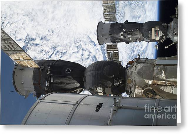 Russian Spacecraft Docked Greeting Card by Stocktrek Images