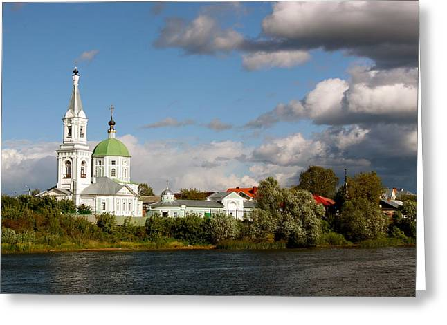Russian_church_volga-river Greeting Card by Elena Ouspenskaia