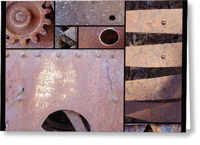 Rust And Metal Abstract  Greeting Card by Ann Powell