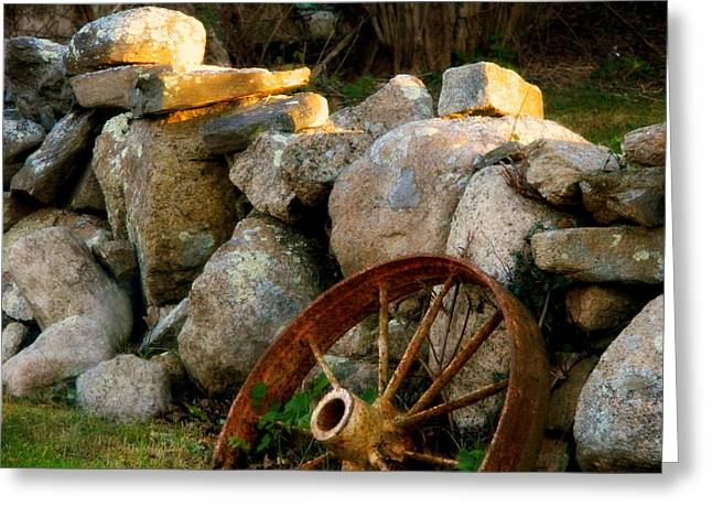 Rust And The Mending Wall Greeting Card by Kathy Barney