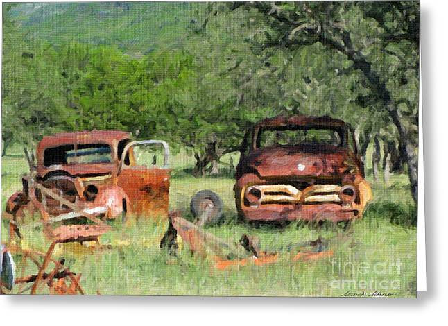Rust In Peace No. 3 Greeting Card by Susan Schroeder