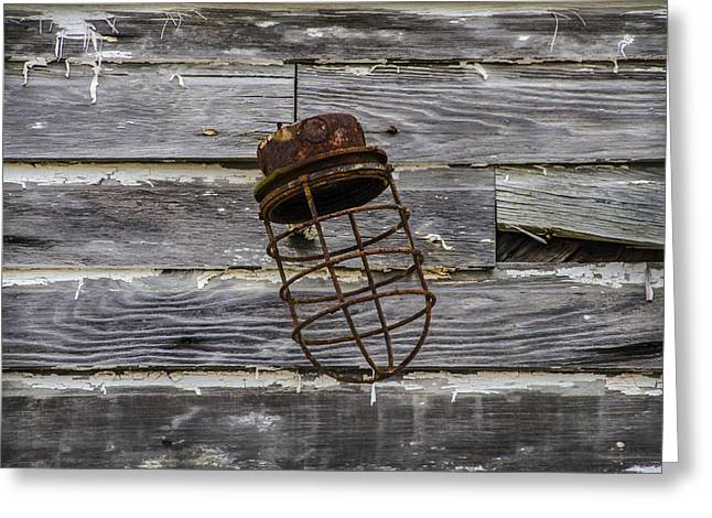 Rusted Light Housing Greeting Card by Bill Cannon