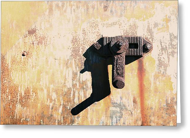 Rusted Metal Abstraction Greeting Card by Ann Powell