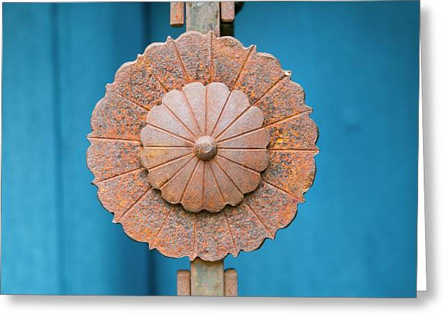 Rusted Metal Decoration, Taos, New Greeting Card by Julien Mcroberts