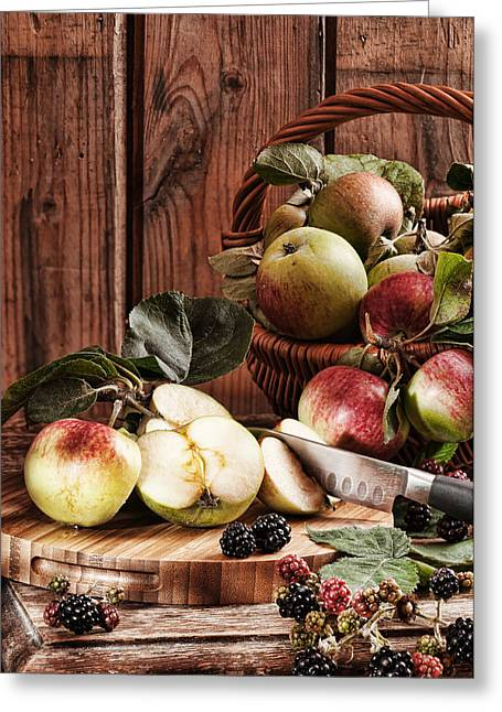Rustic Apples Greeting Card by Amanda Elwell