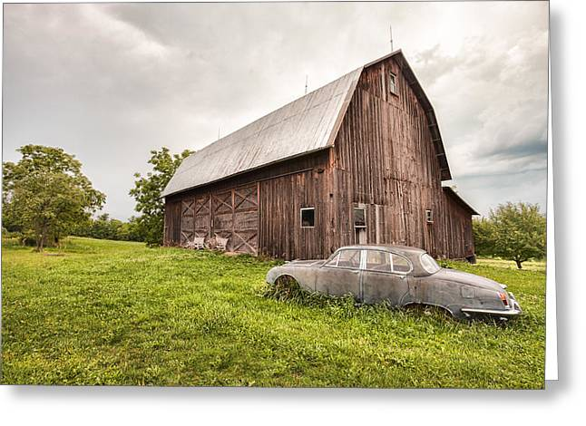 Rustic Art - Old Car And Barn Greeting Card