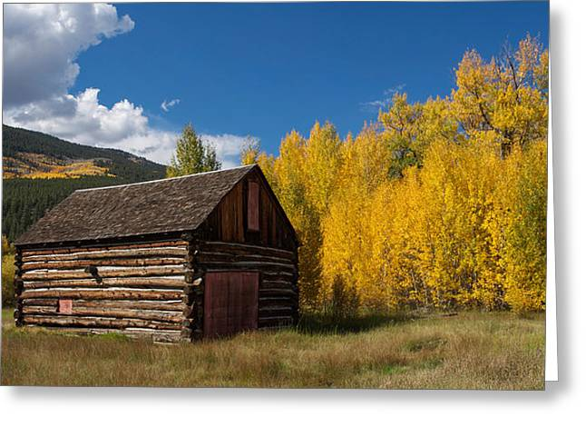 Rustic Barn In Autumn Greeting Card by Aaron Spong