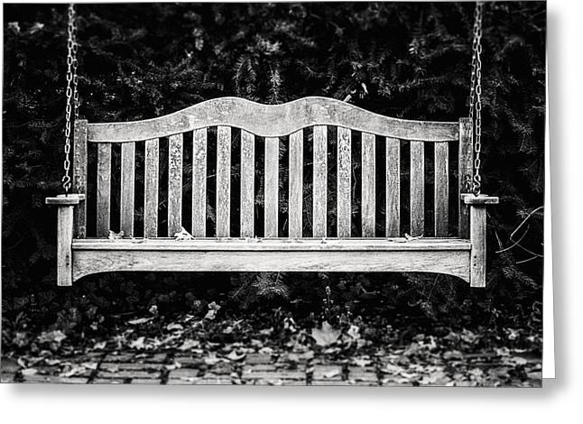 Rustic Bench Swing In Black And White Greeting Card