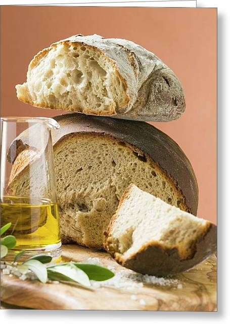 Rustic Bread, Two Loaves With Pieces Cut Off, Olive Oil, Salt Greeting Card