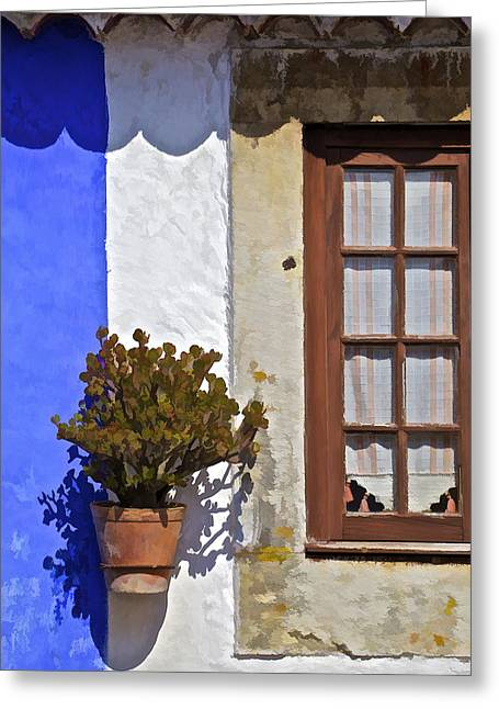 Rustic Brown Window Of The Medieval Village Of Obidos Greeting Card by David Letts
