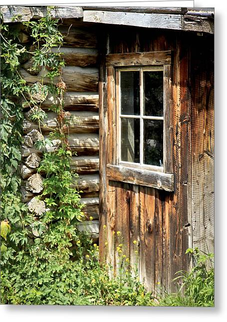 Rustic Cabin Window Greeting Card
