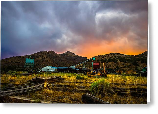 Rustic California Lumber Mill At Sunset Greeting Card by Scott McGuire