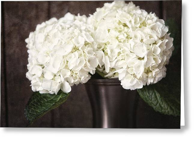 Rustic Hydrangea In A Bronze Vase With Barnwood Greeting Card by Lisa Russo