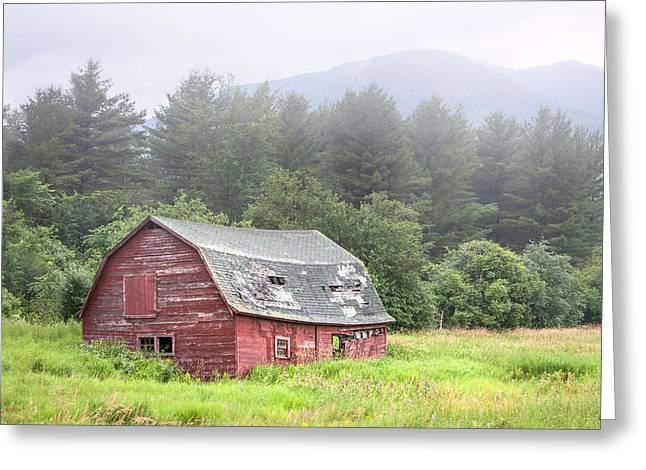 Rustic Landscape - Red Barn - Old Barn And Mountains Greeting Card by Gary Heller