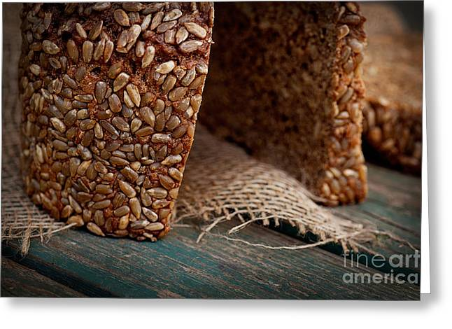Rustic Loaf Of Bread Greeting Card by Mythja  Photography