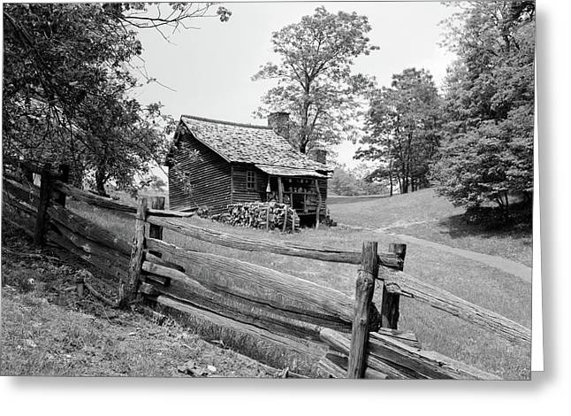 Rustic Log Cabin From 1880s Behind Post Greeting Card