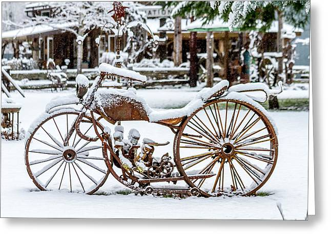 Rustic Motorcycle Metal Art Greeting Card