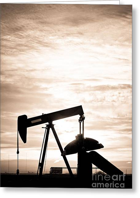 Rustic Oil Well Pump Vertical Sepia Greeting Card