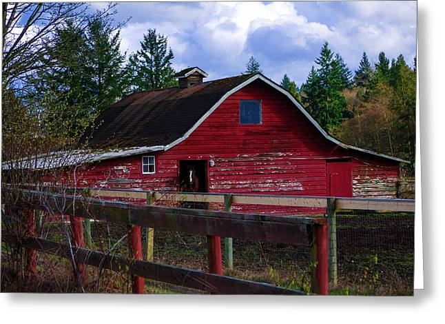 Greeting Card featuring the photograph Rustic Old Horse Barn by Jordan Blackstone