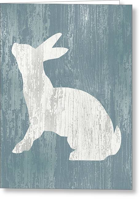Rustic Rabbit On Wood Greeting Card by Flo Karp