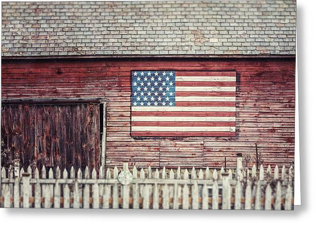 Rustic Red Barn With American Flag  Greeting Card by Lisa Russo