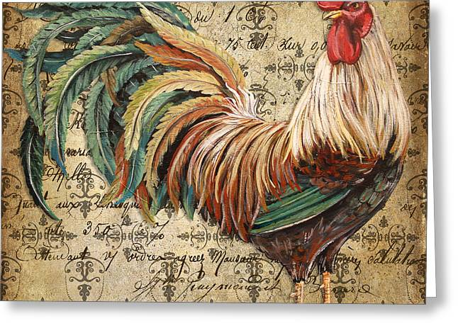 Rustic Rooster-jp2120 Greeting Card by Jean Plout