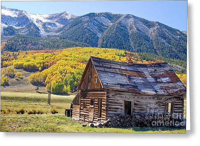 Rustic Rural Colorado Cabin Autumn Landscape Greeting Card by James BO  Insogna