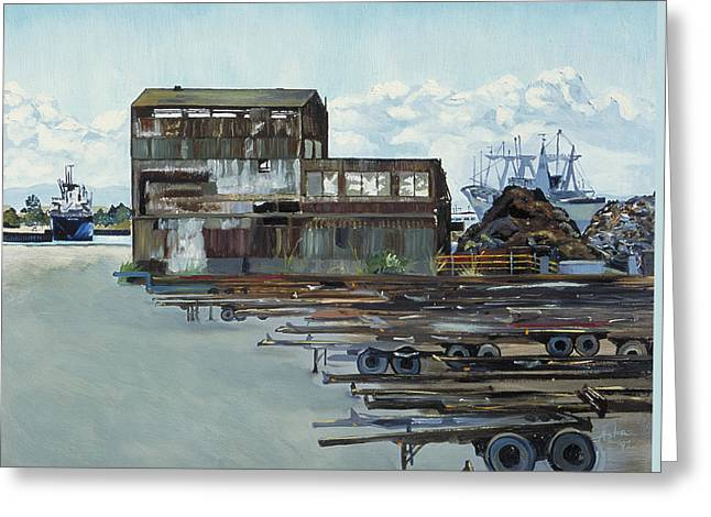Rustic Schnitzer Steel Building With Trailers At The Port Of Oakland  Greeting Card by Asha Carolyn Young