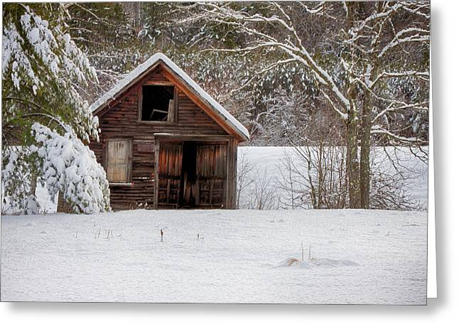 Rustic Shack In Snow Greeting Card