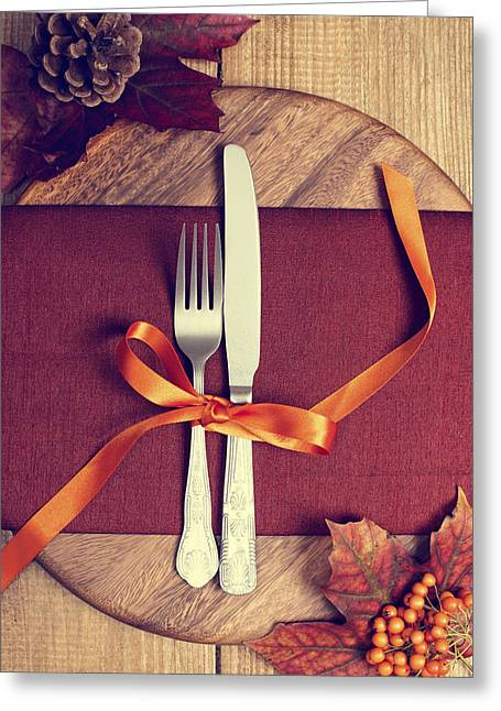Rustic Table Setting For Autumn Greeting Card by Amanda Elwell