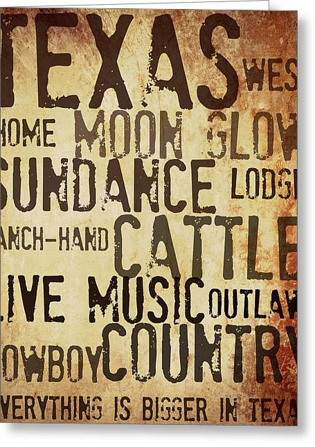 Rustic Texas Art Greeting Card by Chastity Hoff
