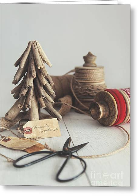 Rustic Twine And Ribbon For Wrapping Gifts Greeting Card by Sandra Cunningham