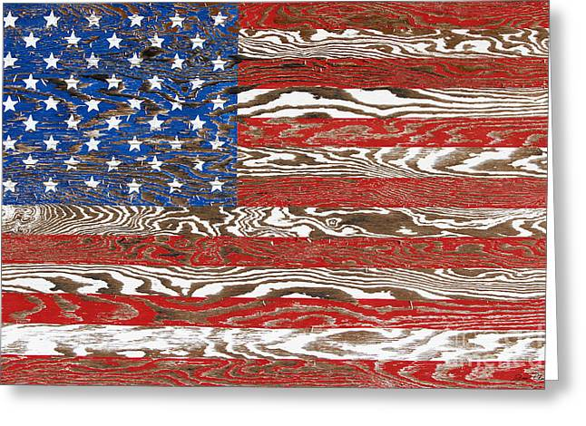 Rustic Usa Flag-jp2569 Greeting Card by Jean Plout