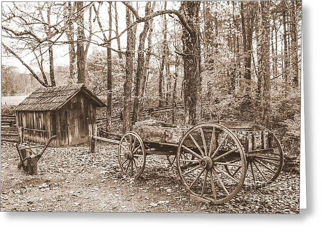 Rustic Wagon Greeting Card by Debbie Green