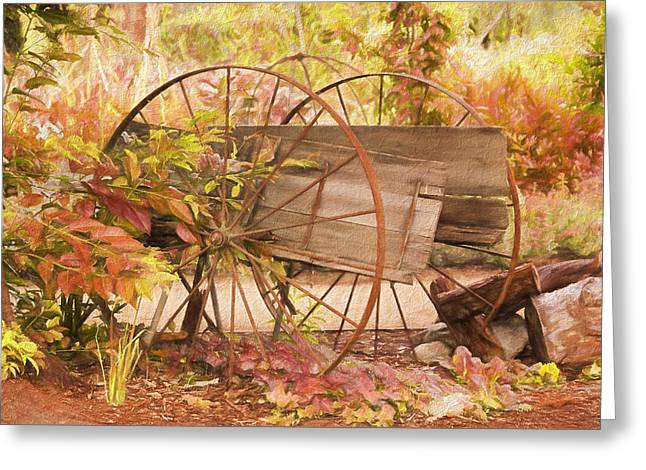 Rustic Wheels Greeting Card by Kim Hojnacki