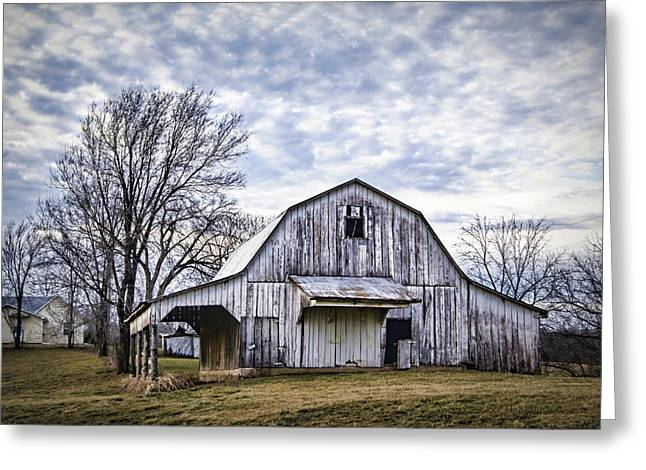 Rustic White Barn Greeting Card by Cricket Hackmann