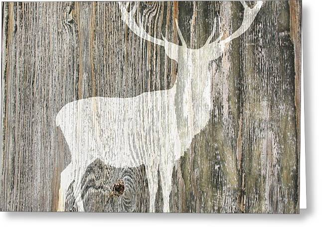 Rustic White Stag Deer Silhouette On Wood Right Facing Greeting Card by Suzanne Powers