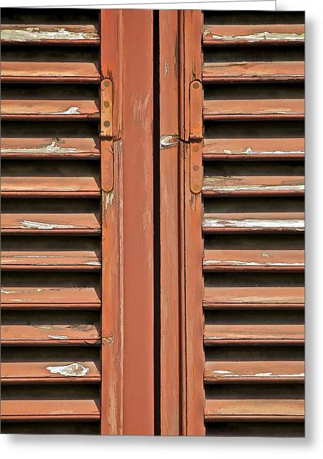 Rustic Wood Window Shutters Of Tuscany Greeting Card by David Letts