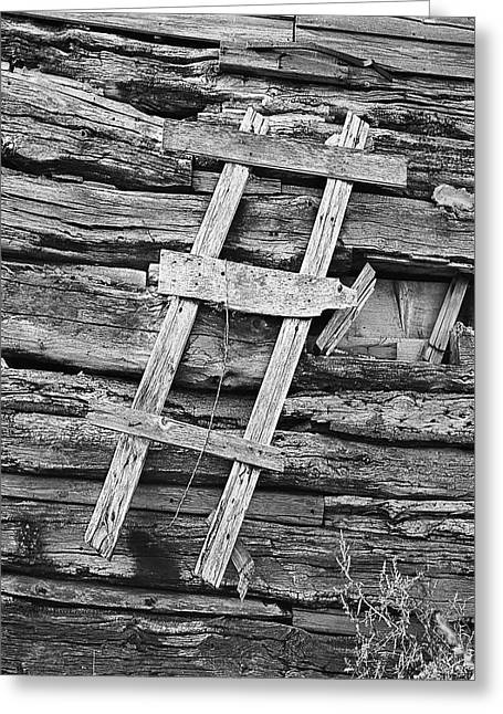 Rustic Wooden Ladder Nailed To Side Of Log Cabin Greeting Card by Donald  Erickson