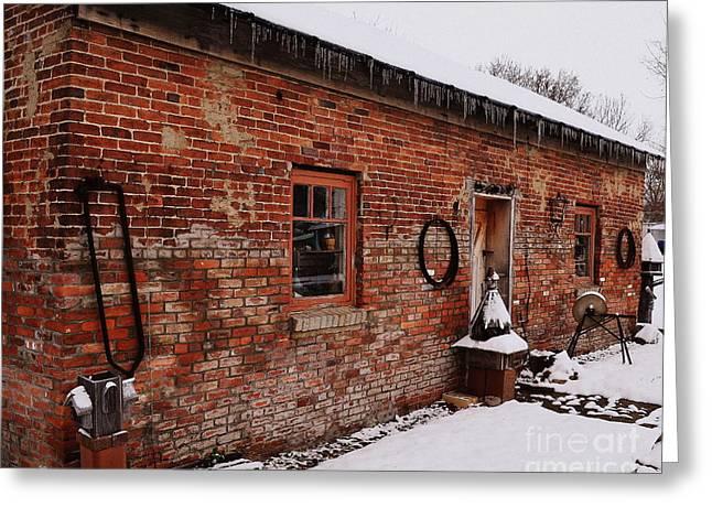 Rustic Workshop In Winter Greeting Card
