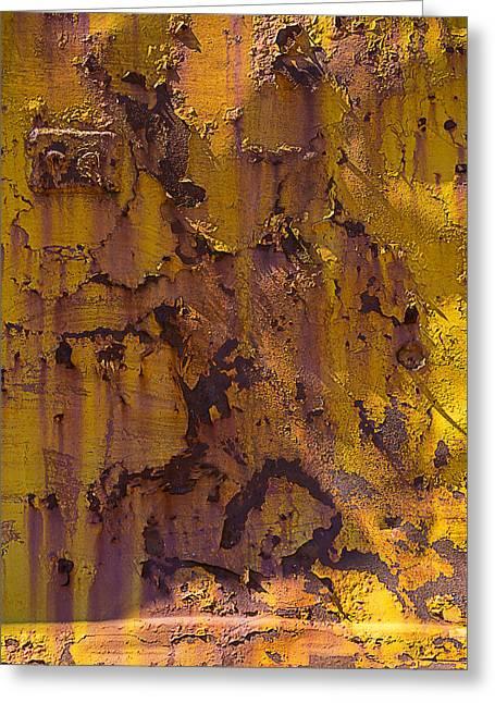Rusting Yellow Metal Greeting Card by Garry Gay